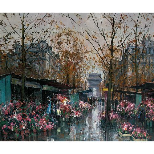 Jean Salabet: Paris in the Spring, oil on canvas