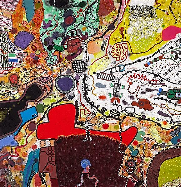 Roy De Forest (American, 1930-2007) Airial World, 1966 60 x 58in