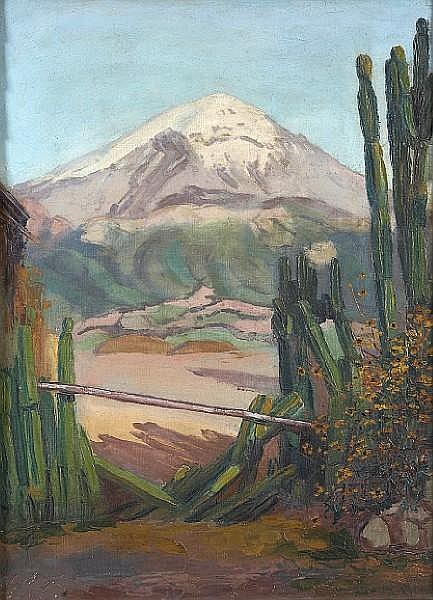 Julio Castellanos (Mexican, 1905-1947) A view of Popocatepetl volcano, Mexico 21 1/2 x 15 1/2in (54.6 x 39.4cm)