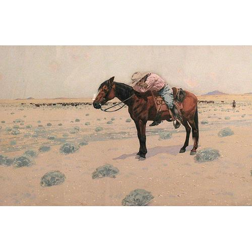 Fernand Lungren Man Asleep on a Horse Watercolor