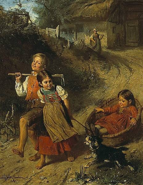 Adolf Eberle (German, 1843-1914) Childhood fun 15 x 12in (38.1 x 30.5cm)