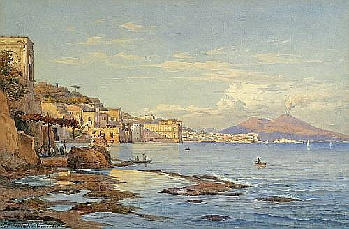 Salomon Corrodi (Swiss, 1810-1892) The Bay of Naples with Vesuvius in the distance; A view of Sorrento (a pair) each 8 3/4 x 13in (22 x 33cm)