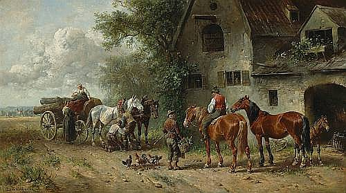 Ludwig Hartmann (German, 1835-1902) At the blacksmith's shop 17 3/4 x 31 1/2in (45.1 x 80cm)
