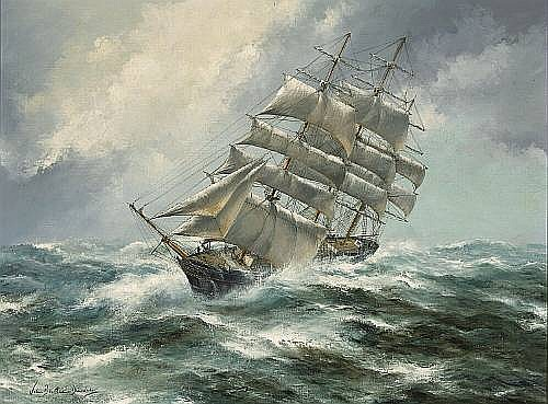 John Bentham-Dinsdale (British, born 1927) The clipper 'Santa Clara' in rough seas 30 1/4 x 39 3/4in (76.7 x 101cm)