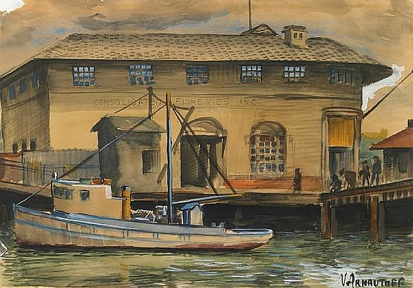 Victor Michail Arnautoff (American, 1896-1979) Consolidated Fisheries INC. 11 1/8 x 16in