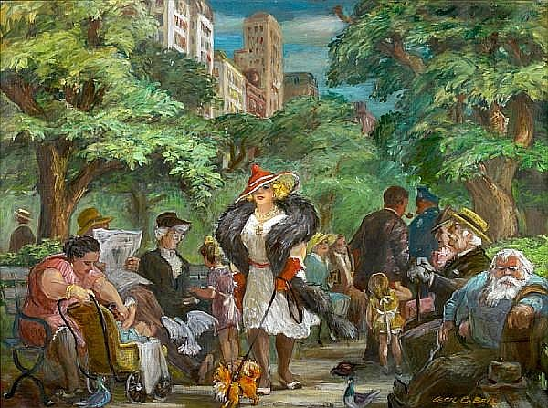 Cecil Crosley Bell (American, 1906-1970) Promenade in Central Park 30 x 40in