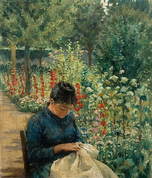 James Carroll Beckwith (American, 1852-1917) The Garden of Giverny, France 20 1/4 x 14in