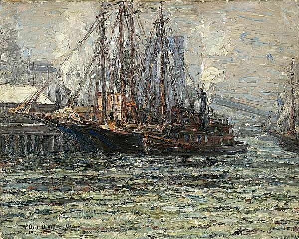 Frederick Usher Devoll (American, 1873-1941) Shipping under the Brooklyn Bridge 16 x 20in unframed
