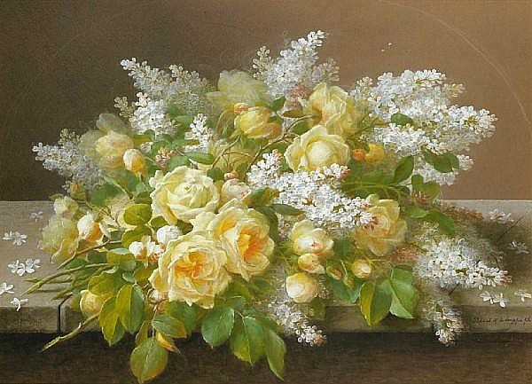 Raoul M. de Longpre (French/American, 1843-1911) Roses and lilacs: Two sight each 20 x 28in