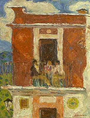 Mabel Alvarez (American, 1891-1985) Three Figures on a Balcony, 1955 20 x 16in