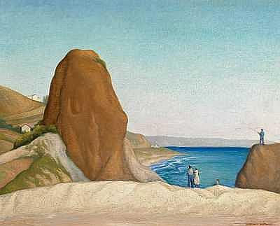 Alexander Warshawsky (American, 1887-1945) Castle Rock, Santa Monica Beach, California 24 x 30in