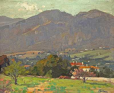 Ferdinand Kaufmann (American, 1864-1942) Homes Along the San Gabriel Mountains 13 x 16in