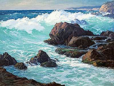 William Henry Price (American, 1864-1940) Rock and Waves, Laguna Beach, 1931 30 x 40in