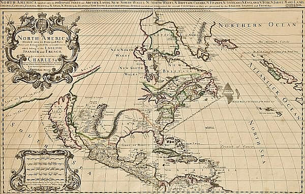 BERRY, WILLIAM. Fl. 1669-1708. North America Divided into its Principall Parts where are distinguished the severall States which belong to the English, Spanish, and French. London: William Berry, c. 1681.