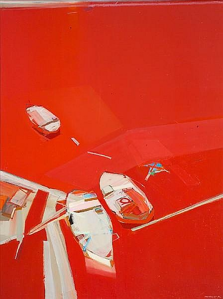 Raimonds Staprans (Latvian/American, born 1926) White Top Boats, 1972 66 x 50in