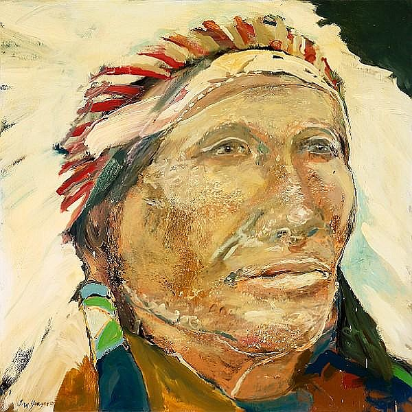 Ira Yeager (American, born 1938) Native American with Headdress 48 x 48in