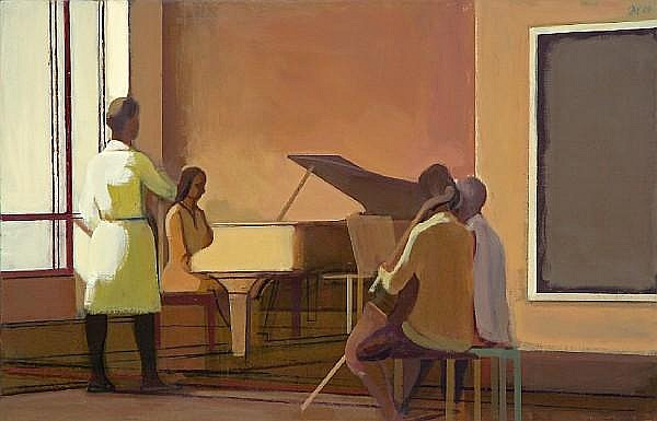 James Weeks (American, 1922-1998) Gallery Song Recital, 1984 36 x 56 1/4in