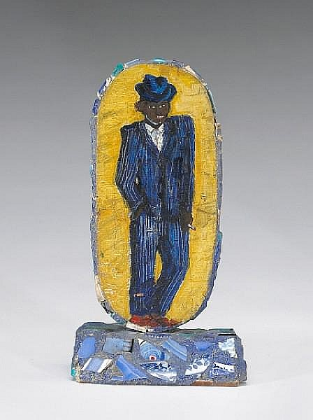 Alison Saar (American, born 1956) Man in Blue Suit, 1981 10 1/2 x 5 1/2 x 3 1/2in