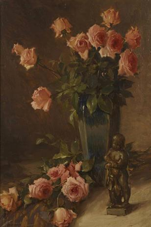 Joseph Tomanek-(American, 1889-1974)-Still life with roses and bronze figure 30 x 20in