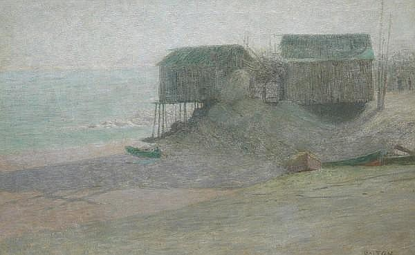 Bolton Brown (American, 1865-1936) Fishing shacks and dories on the beach 24 x 38in