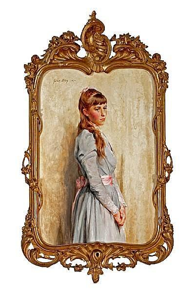 Julian Russel Story (American, 1850-1919) Portrait of a woman in a mauve dress 20 3/4 x 14 1/2in