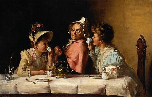 Maria R. Dixon (American, ?-1896) Tea party 18 x 28in