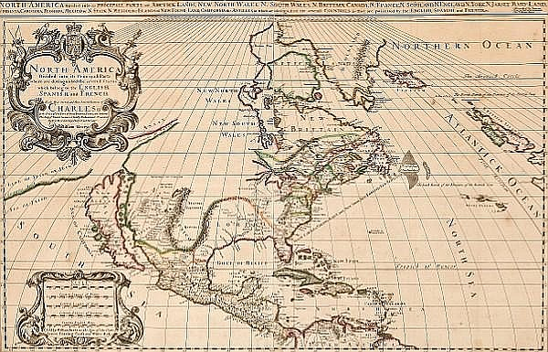 BERRY, WILLIAM. Fl.1669-1708. North America Divided into its Principall Parts where are distinguished the severall States which belong to the English, Spanish, and French. London: William Berry, c. 1681.