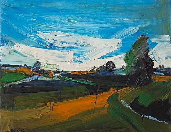 Henrietta Berk (American, 1919-1993) Orange Road and Blue Sky 27 1/2 x 35 1/2in (70 x 90cm)