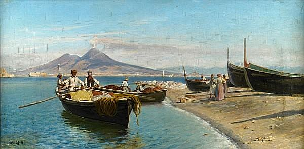Eduardo Monteforte (Italian, 1849-1933) A view of Naples with Vesuvius beyond 16 x 31 1/2in