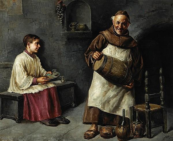 Raffaele Frigerio (Italian, 20th Century) A monk and a young acolyte in a wine cellar 31 1/4 x 38 1/2in (79.3 x 97.8cm)