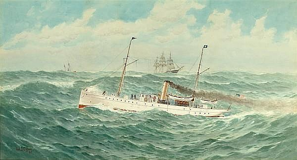 Frederic Schiller Cozzens (American, 1846-1928), 1899 The steam yacht Scythian with the Sandy Hook Lightship and other shipping in the background 24 x 42 in. (61 x 106.7 cm.)