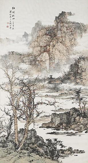 Liang Boyu (1901-1979 Landscape with Waterfall, 19