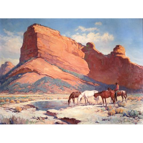 Gray Bartlett Red Mountain Sedona Indian on Horseback oil painting