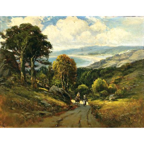 "Manuel Valencia, ""Figures on a Coastal Road"", oil on canvas"