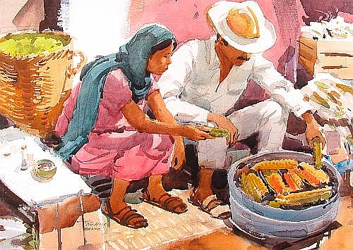 Tom Hill (American, born 1925) Elote Venders in Mexico 22 1/2 x 29 1/2in