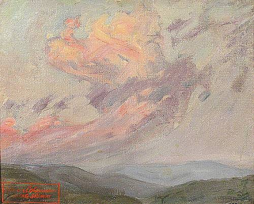 Elanor Ruth Gump Colburn (American, 1866-1939) Gushing Clouds 8 x 10in