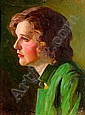 Robert Alexander Graham (American, 1873-1946) A Portrait of a Woman Wearing a Green Jacket 16 x 12in, Robert Alexander Graham, Click for value