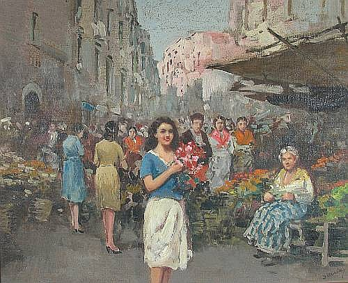 Vincenzo d' Auria (Italian, 1872-1939) An Italian market scene with a lady holding flowers in the foreground 16 x 20in