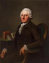 Jean Laurent Mosnier (French, born circa 1743-1808) A portrait of a gentleman, half-length, seated at a desk; A portrait