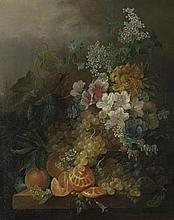 Jan van der Waarden (Dutch, 1811-1872) A still life with flowers, peaches, grapes and a peeled orange, all resting on a