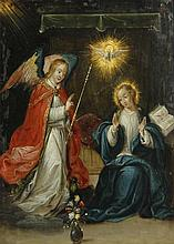 Attributed to Cornelis-(I) de Baellieur (Flemish, 1607-1671)-The Annunciation 8 1/2 x 6 1/4in