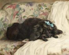 Florence Jay-(British, 20th Century)-Recumbent Poodle 21 7/8 x 27 1/8in. (55.5 x 69.0cm.)