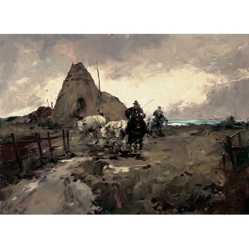 Ferruccio Rontini, Untitled (Landscape with farmers and oxen)