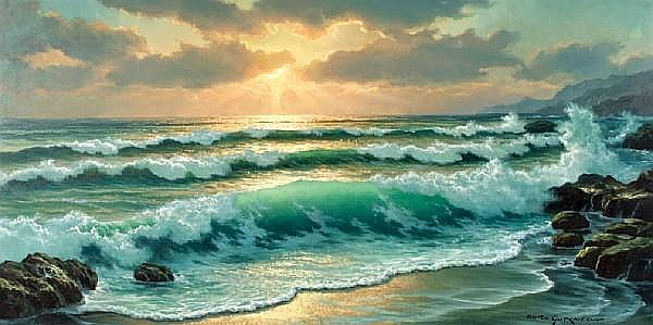 Anton Gutknecht (German/American, 1907-1988) Crashing Waves in Sunset 24 x 48in