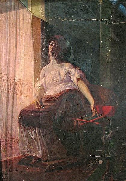Federico Faruffini (Italian, 1831-1869) Woman by a window 88 1/4 x 64in