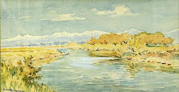 G. Wesley Browning (American, 1868-1951) Jordan River, Utah 7 1/2 x 13 1/2in