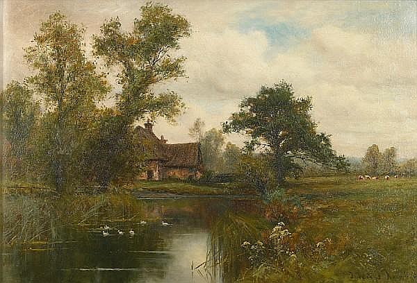 Wiggs Kinnaird (British, 1870-1930) A country cottage by a duck pond 14 x 20 1/8in