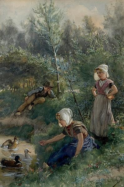 Henricus Mattheus Horrix (Dutch, 1845-1923) Children playing on the banks of a duck pond sight 21 3/4 x 14 1/4in