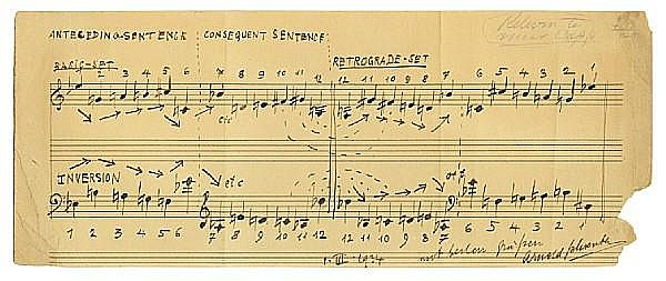 SCHOENBERG, ARNOLD. 1874-1951. Autograph Musical Quotation Signed (