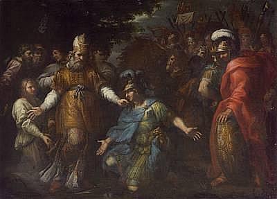 Circle of Lazzaro Baldi (Italian, 1624-1703) Achilles quarrelling with Agamemnon(?) 38 3/4 x 53in (98.4 x 134.6cm)